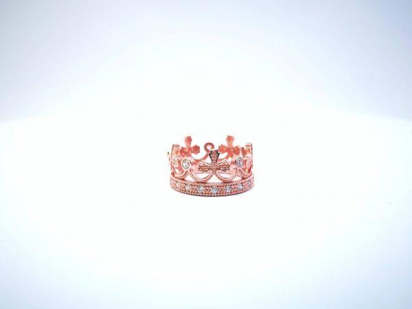 Srebrni Kruna prsten sa rose pozlatom