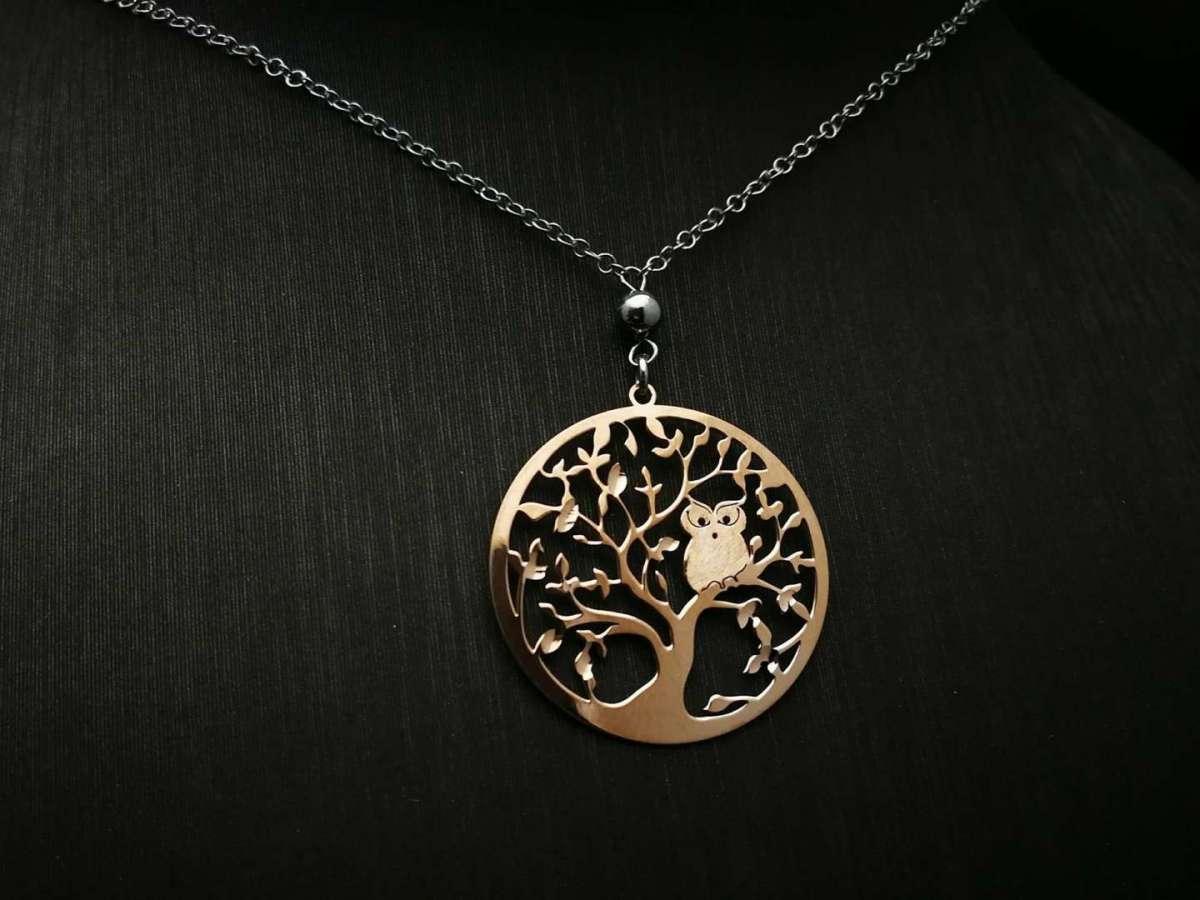 Srebrna ogrlica Tree of Life rose