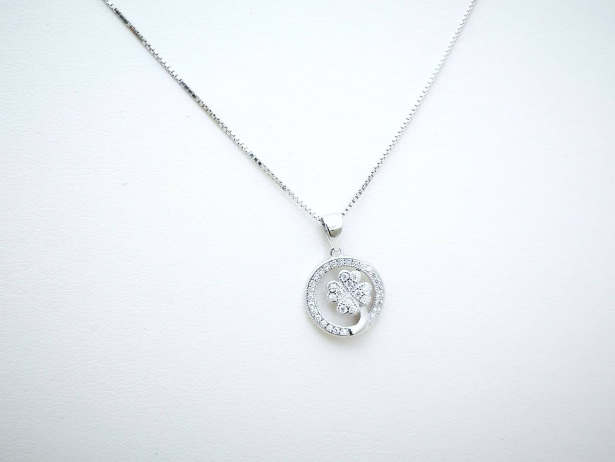 Djetelina 4 lista srebrna ogrlica