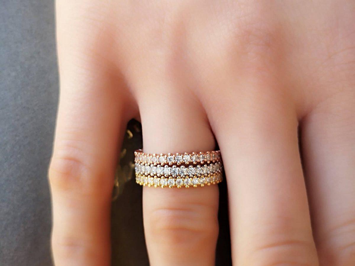 Srebrni prsten Triple Eternity
