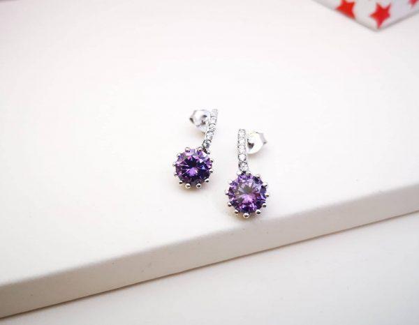 Violet srebrne naušnice
