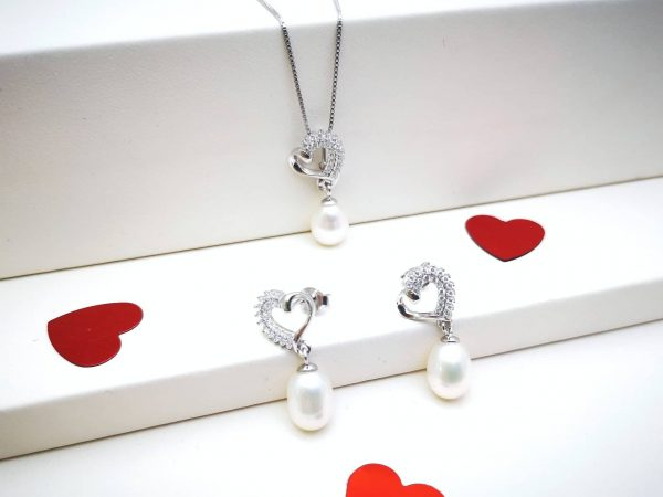 Heart pearls srebrni nakit