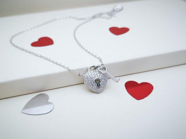 Unlock My Heart srebrna ogrlica