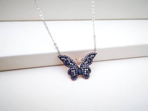 Butterfly violet srebrna ogrlica