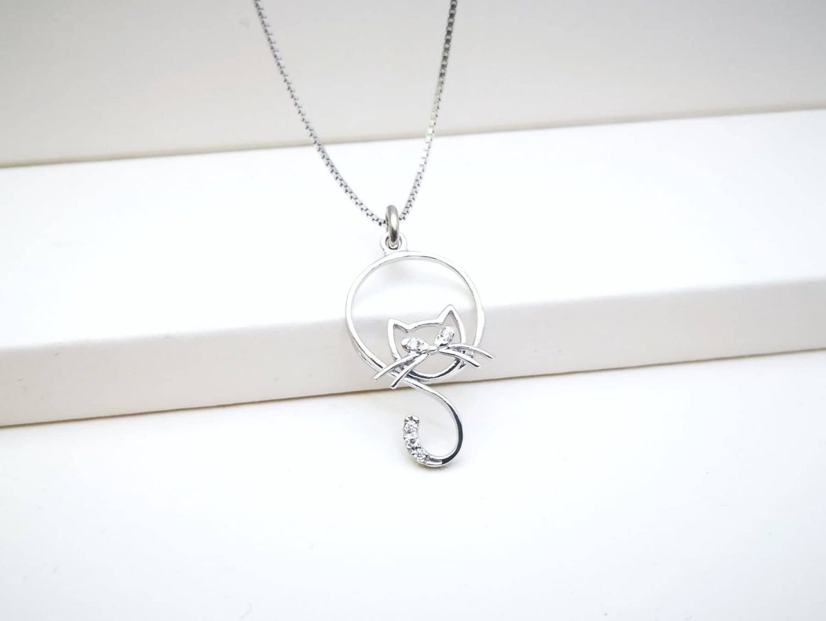 Mačka srebrna ogrlica
