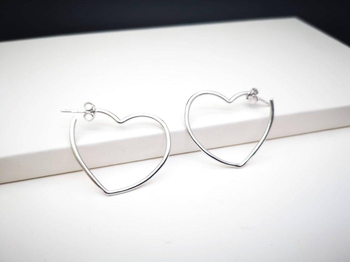 Open heart srebrne naušnice