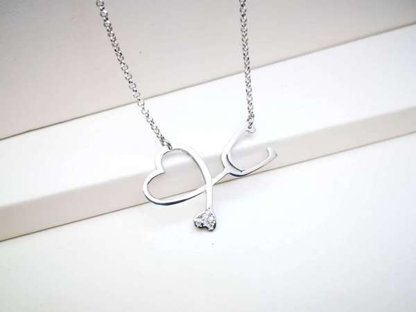 Stetoskop Srce srebrna ogrlica