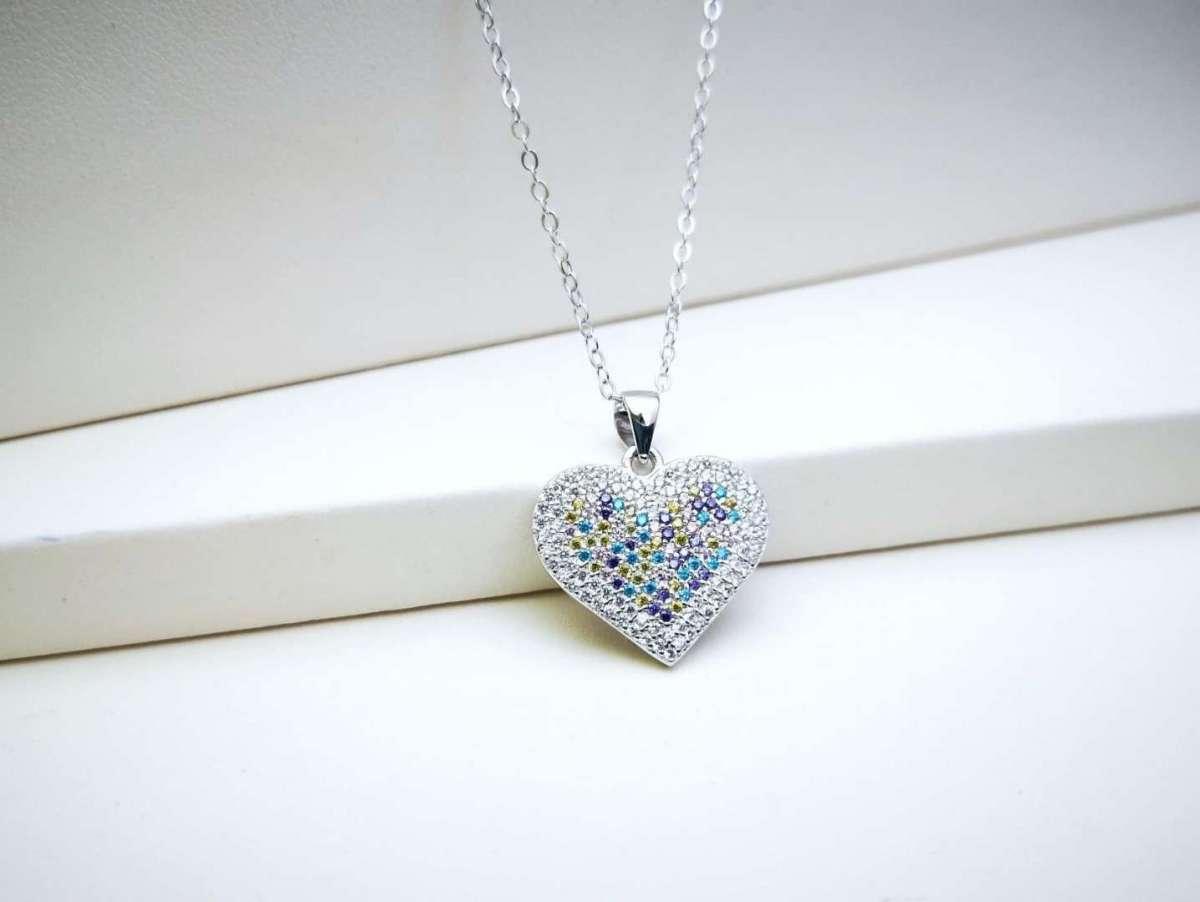 Color my Heart srebrna ogrlica