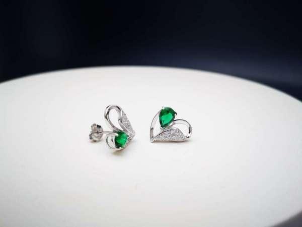 Zelena srca srebrne naušnice