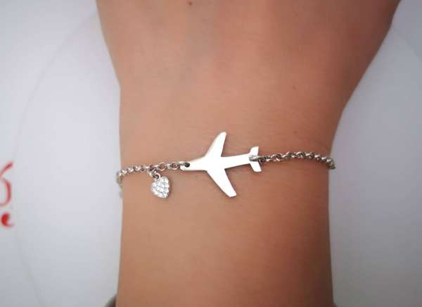 Avion srebrna narukvica