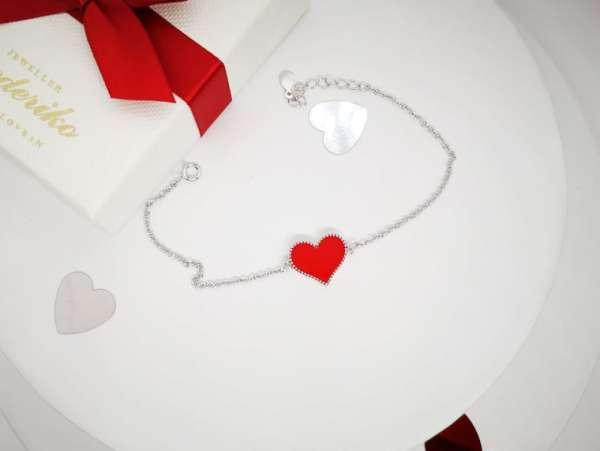 Red heart srebrna narukvica