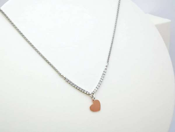 Rose gold heart srebrna ogrlica