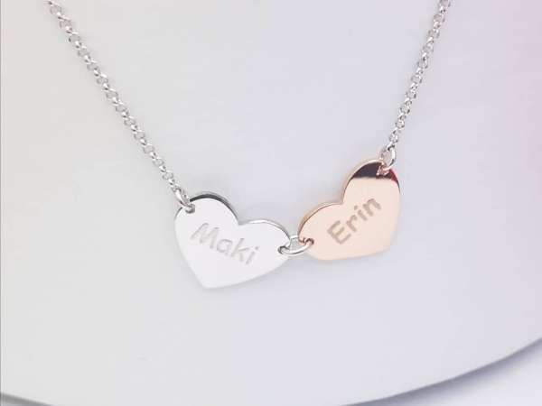 Dva srca personalizirana ogrlica