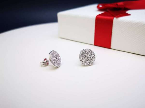 Glittering circle srebrne naušnice