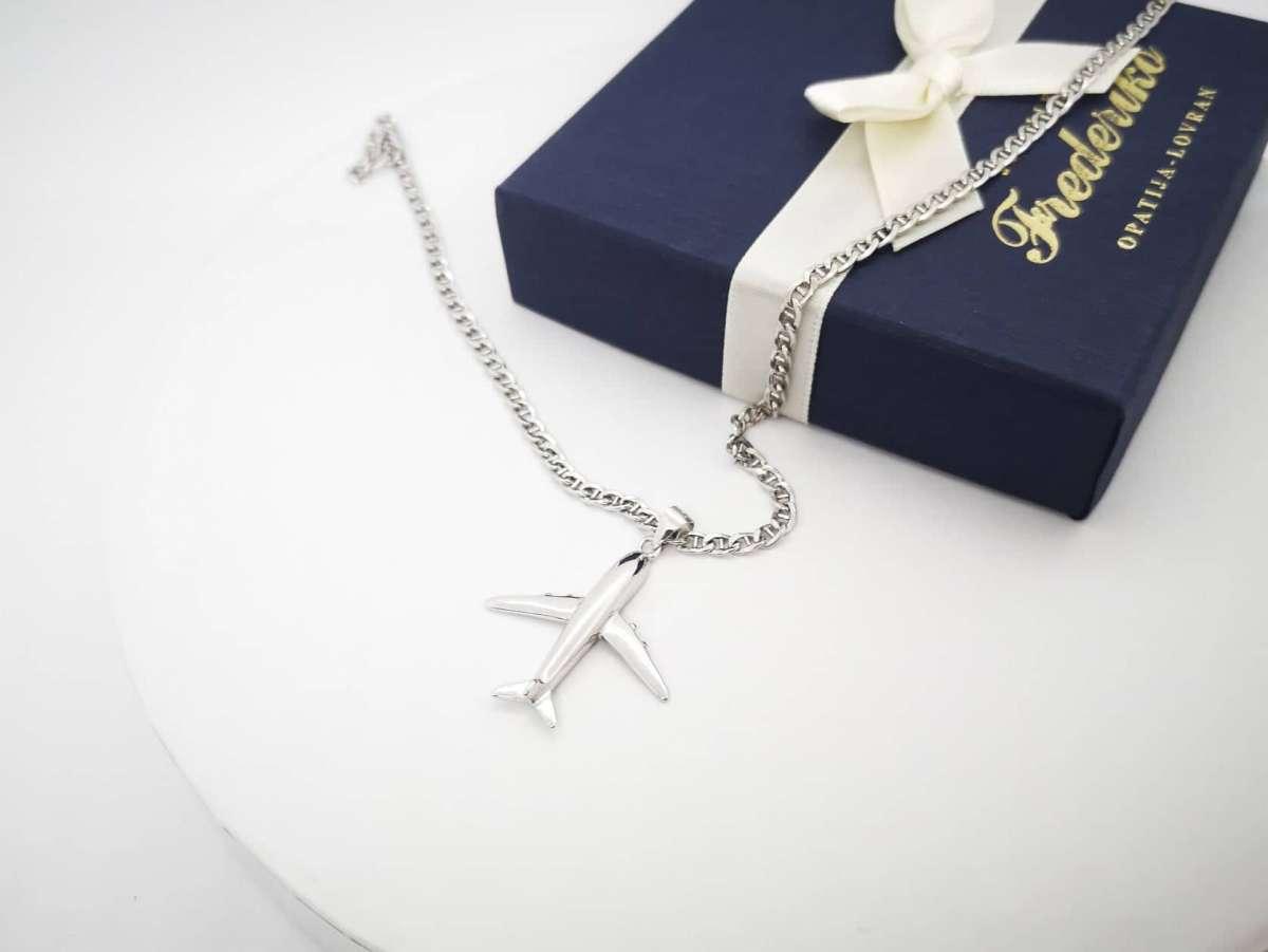 Airplane srebrna ogrlica