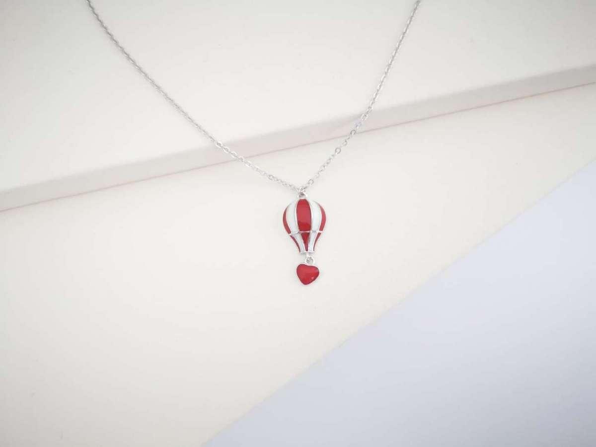 Balloon red heart srebrna ogrlica