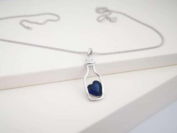 Plavo srce u boci srebrna ogrlica