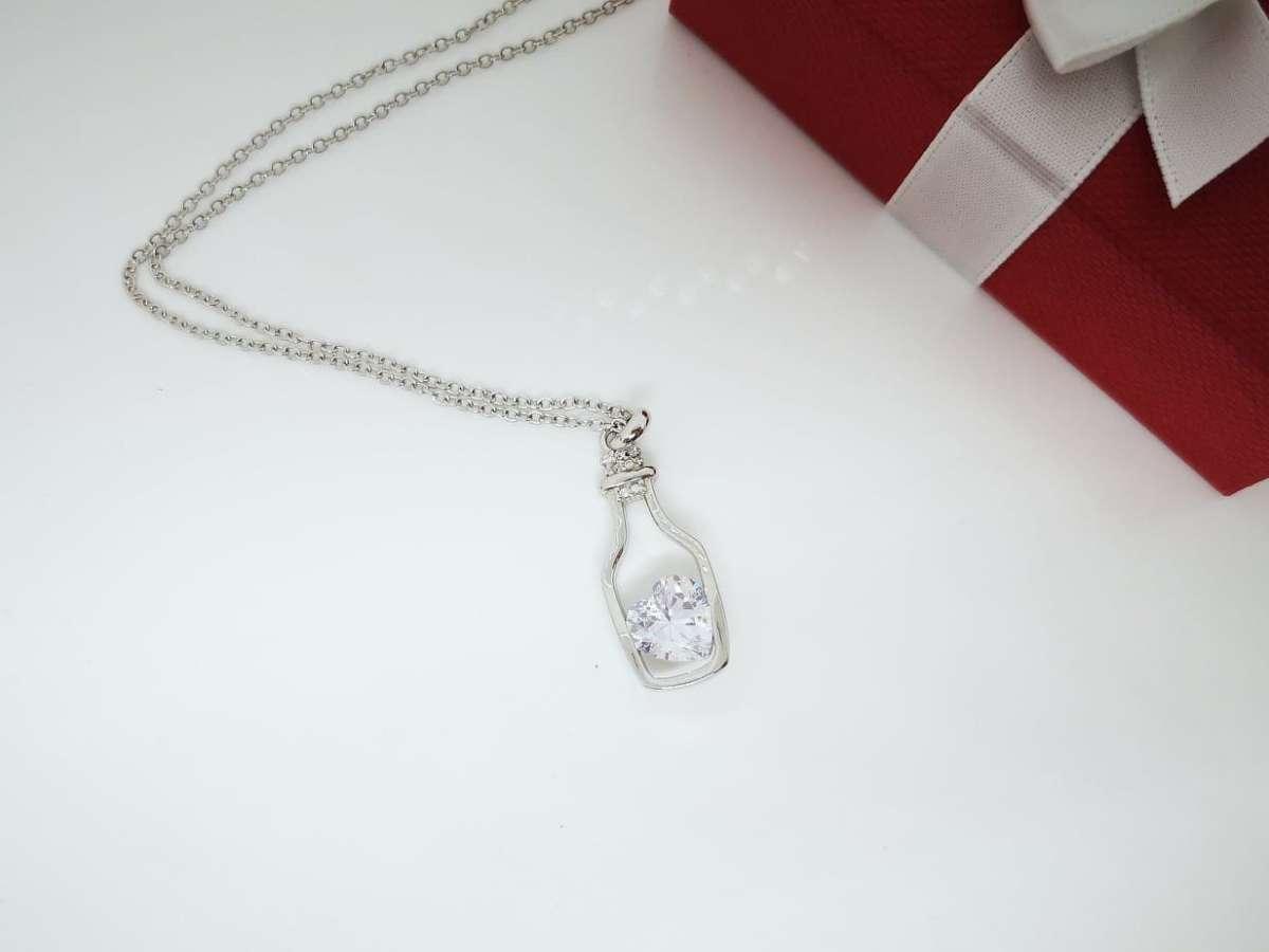 Srce u boci srebrna ogrlica