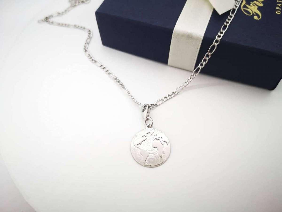 World map srebrna ogrlica