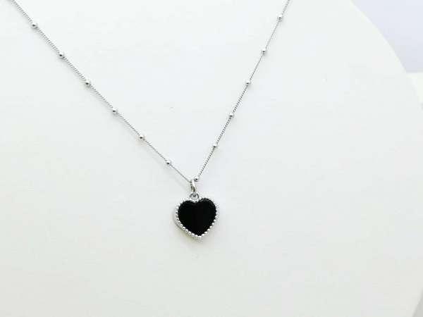 Black heart srebrna ogrlica
