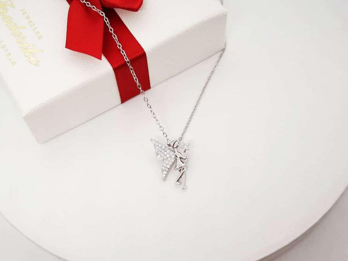 Zvončica srebrna ogrlica Tinkerbell