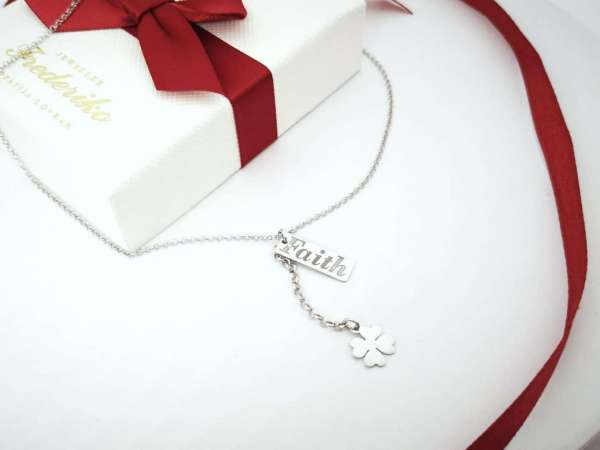 Djetelina srebrna ogrlica FAITH
