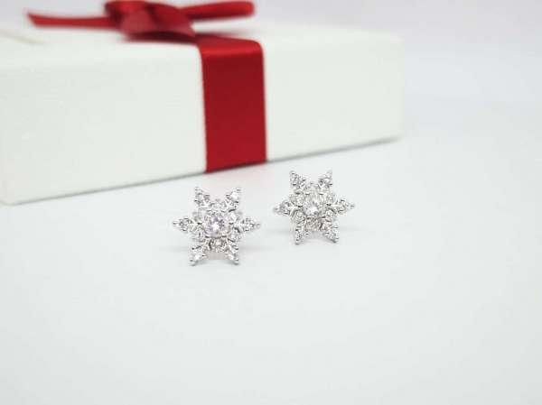 Snowflakes srebrne naušnice