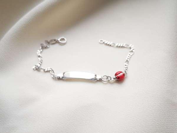 Crvena bubamara srebrna narukvica