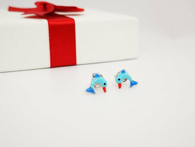 Delfini srebrne naušnice za djevojčice