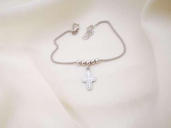 Srebrna narukvica križ