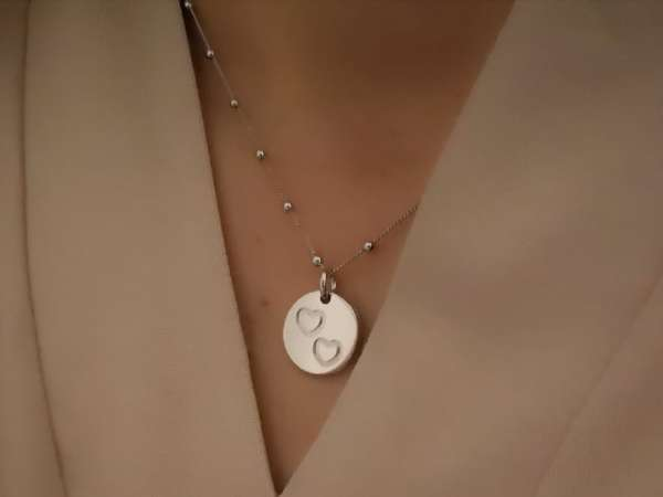 Two hearts medaljon srebrna ogrlica