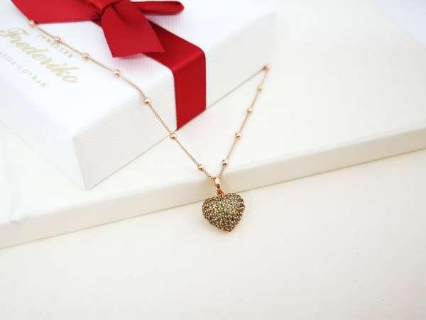 Zeleno srce srebrna ogrlica