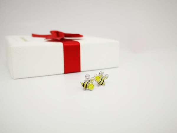 pčela srebrne naušnice za djevojčice