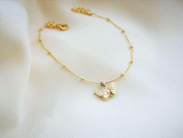Butterfly gold srebrna narukvica