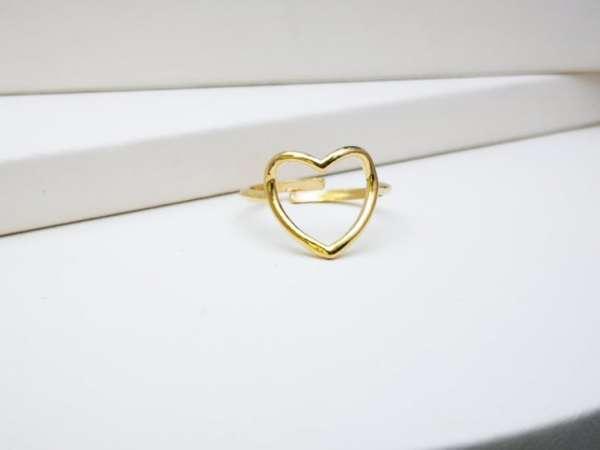 Otvoreno zlatno srce srebrni prsten