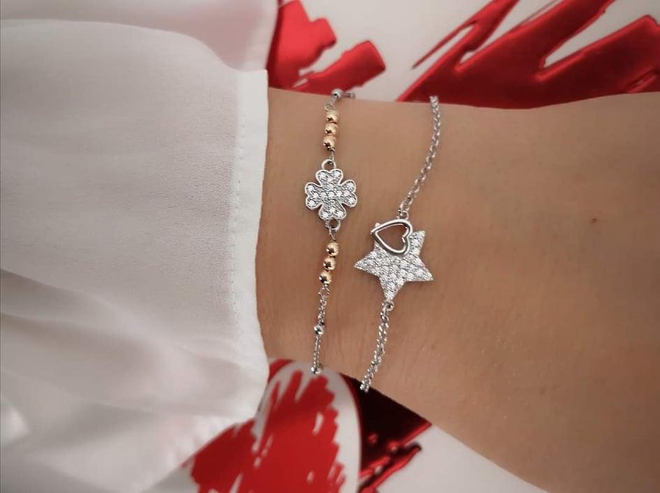 Djetelina rose srebrna narukvica