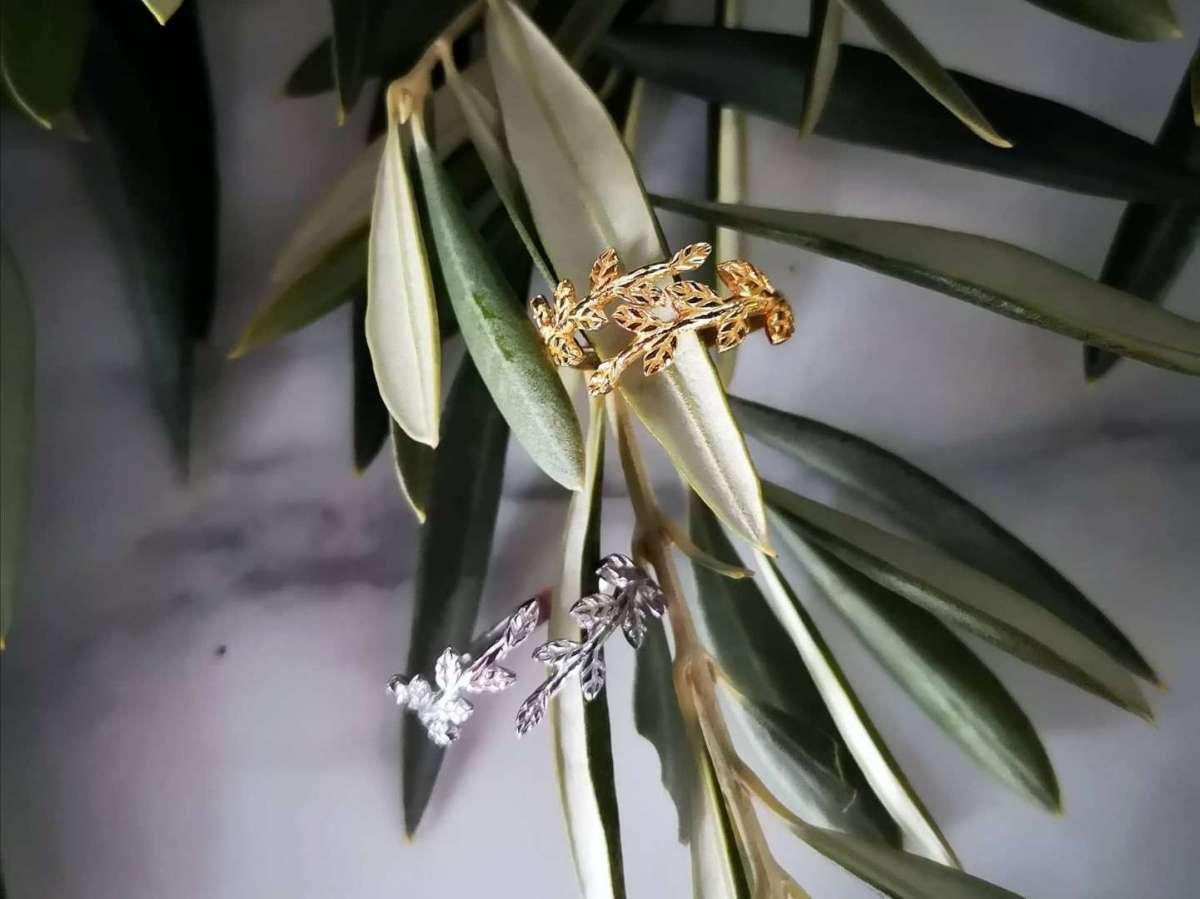 Maslina srebrni prsten pozlata