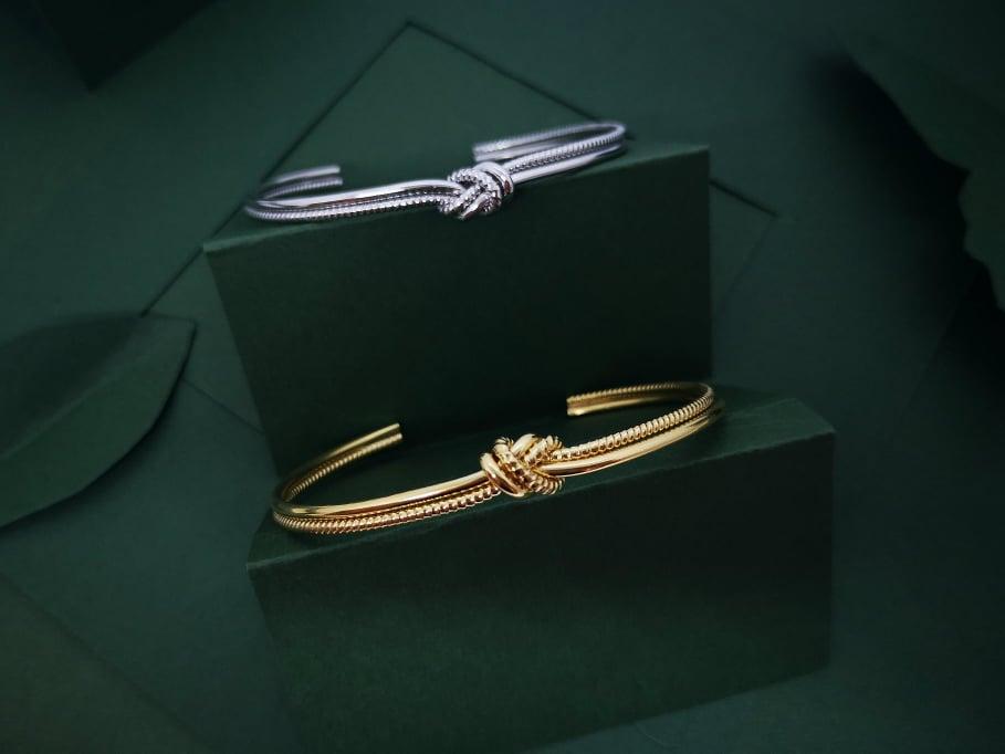 Duo Love knot srebrna narukvica