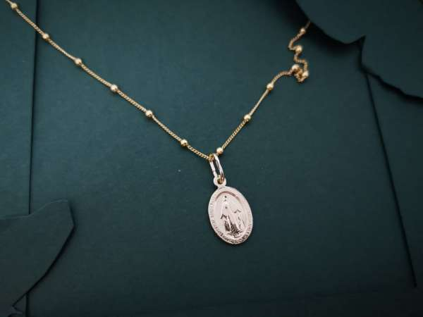 Gold Gospa čudotvorna medalja srebrna ogrlica