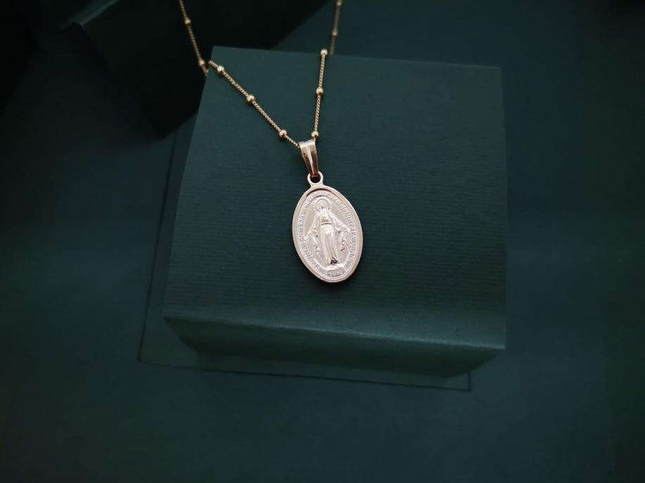 Gospa medalja srebrna pozlaćena ogrlica
