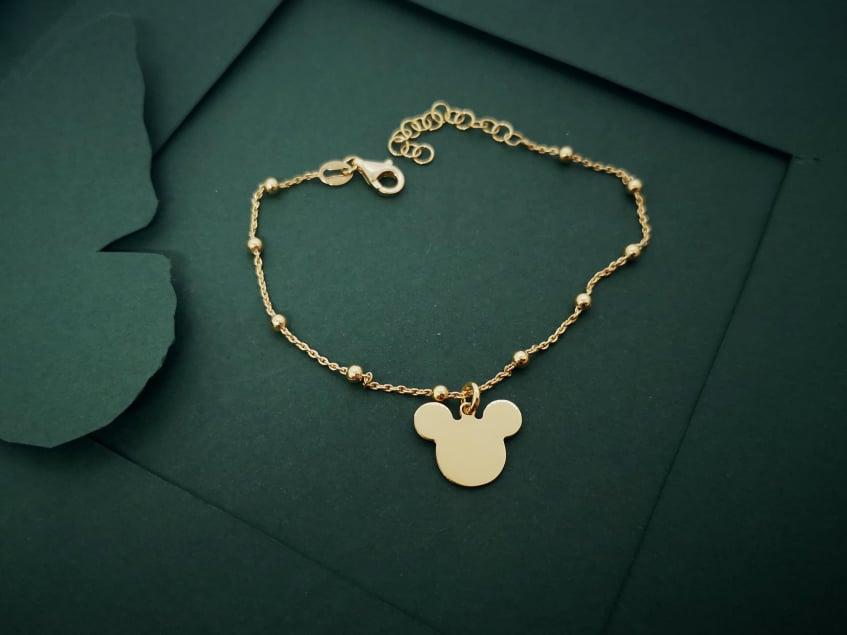 Mickey srebrna pozlaćena narukvica