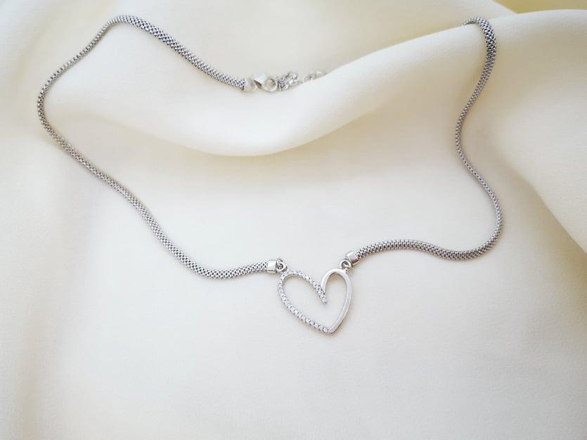Otvoreno srce srebrna ogrlica