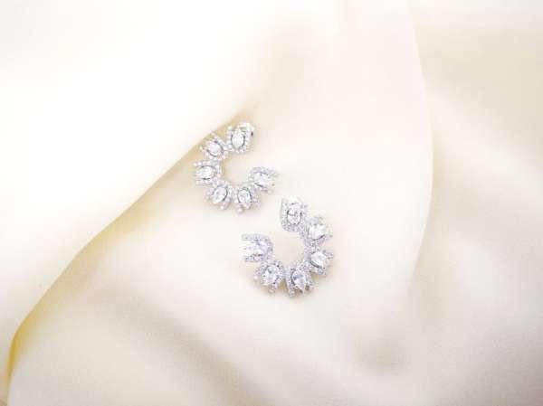 Bridal princess srebrne naušnice