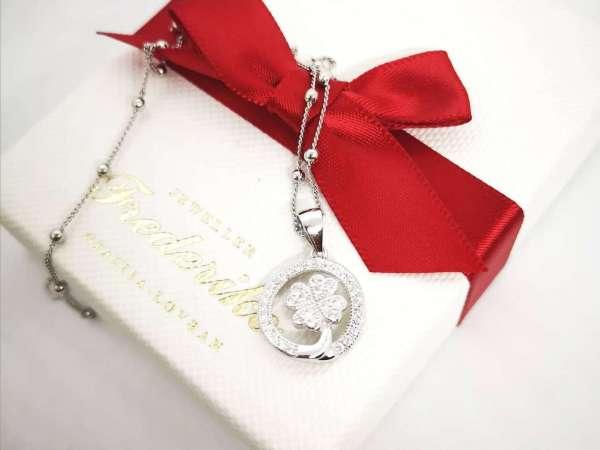 Djetelina s 4 sreće srebrna ogrlica