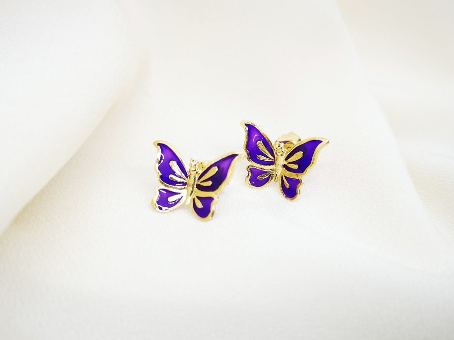 Ljubičasti leptiri srebrne naušnice