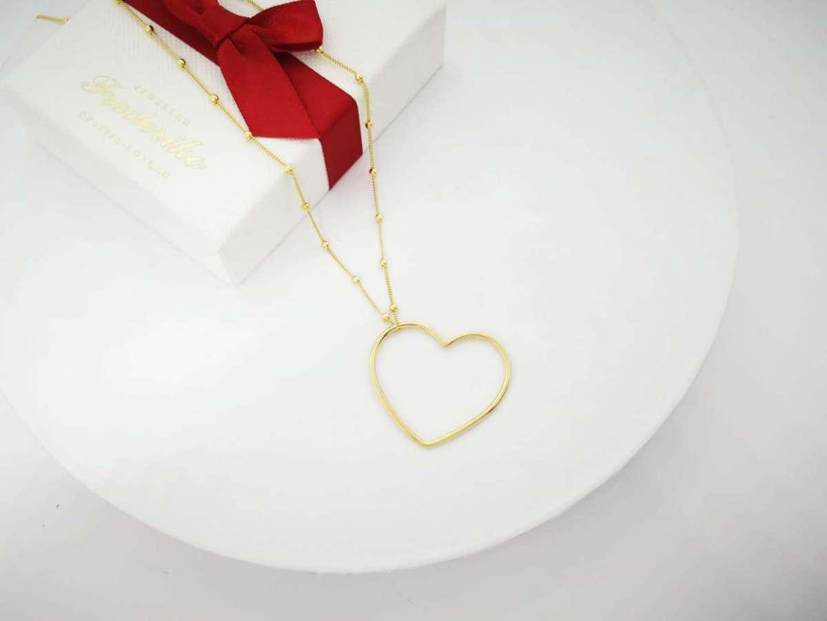 Obris srca srebrna ogrlica pozlata