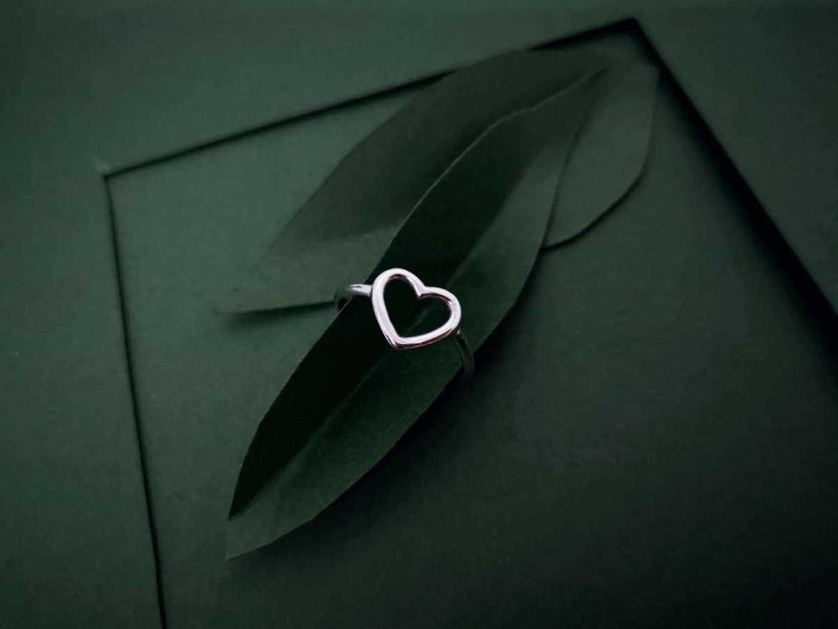 Obris srca srebrni prsten