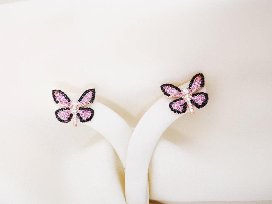 Pink butterflysrebrne naušnice