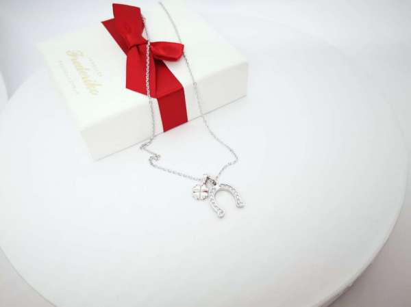 Potkova & djetelina srebrna ogrlica
