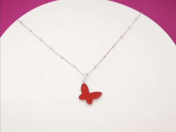 Crveni leptir srebrna ogrlica
